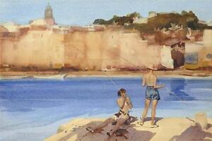 William-Russell-Flint-SALAMANDERS-ST-TROPEZ-Fishing-Unsigned-Released-2015