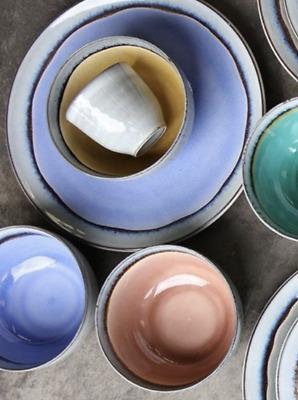 1 Light Blue Ceramic Bowl Nkuku Dakara Soup Dessert Pasta Bowl Rustic Dining