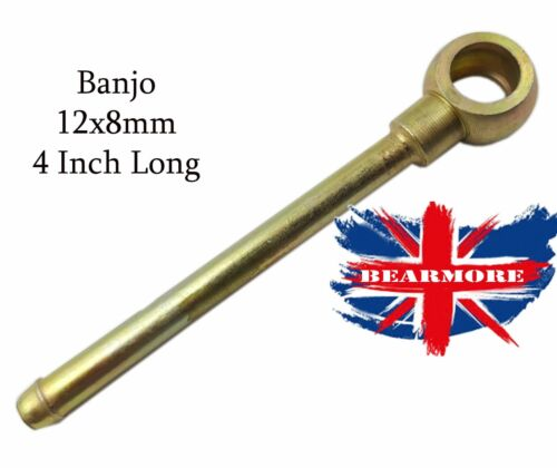 "Straight Long Neck Banjo Fitting  M12 Banjo for 8mm Hose 4/"" Long Neck STEEL BZP"