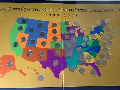 first state quarters of the united states collectors map FIRST STATE QUARTERS OF THE UNITED STATES COLLECTORS MAP 1999 2008