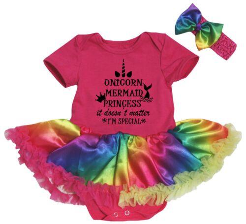 Unicorn Mermaid Princess Hot Pink Cotton Bodysuit Rainbow Baby Dress NB-18M
