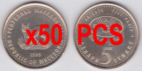 MACEDONIA COMMEMORATIVE COIN 5 Denari 1995 KM-7a FAO UNC LOT 50 pcs Denar Denars