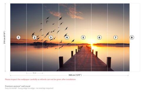 Pier Bridge Sunrise Wall Mural Wallpaper WS-42695