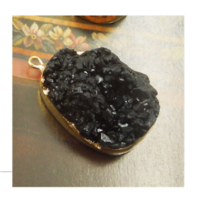 Druzy Agate Stone Natural Connector Irregular Shaped Crystal Black Charm Necklac