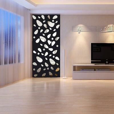 12Pcs 3D Mirror Vinyl Removable Wall Sticker Decal Home Decor Art DIY Silver SIN