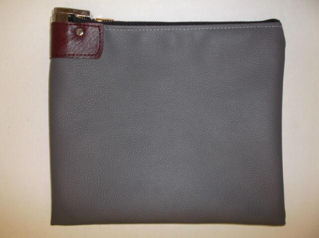 5 Pieces Gray Vinyl Locking Bank Deposit Bag Deluxe Pop Up Lock 2 Keys