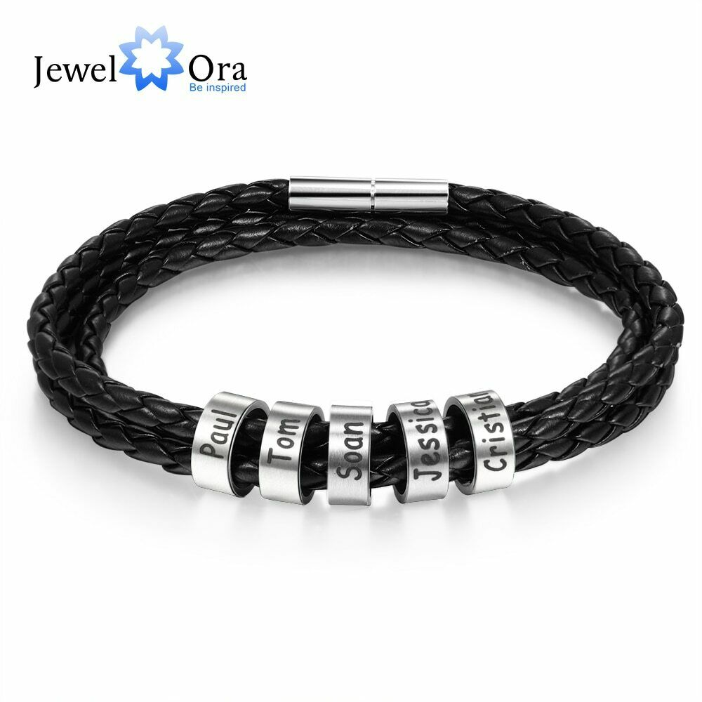 Personalized Stainless Steel Braided Rope Charm Bracelets Custom Men Leather