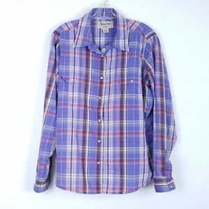 WRANGLER-Purple-Plaid-Pearl-Snap-Front-Western-Shirt-Cowgirl-Womens-size-XXL-2XL