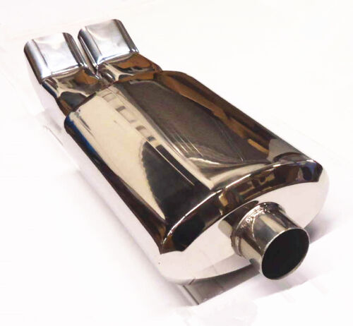 """UNIVERSAL STAINLESS STEEL DUAL SQUARE TIPS PERFORMANCE MUFFLER 2.5/"""" INLET"""