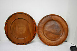 Acacia-Wood-Charger-Hand-Crafted-for-WIlliams-Sonoma-Pair-of-two