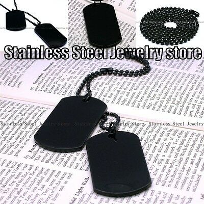 Army Style Cool Black 2 Dog Tag Beauty Mens Pendant Necklace free shipping N036