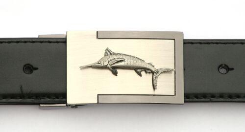 Marlin emblème boucle de ceinture et ceinture en cuir en boîte cadeau jeu de pêche présent