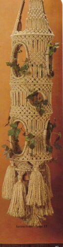 Minaret Enclosed Plant Hanger Pattern #HA56 Moods in Macrame 1970s Craft Book