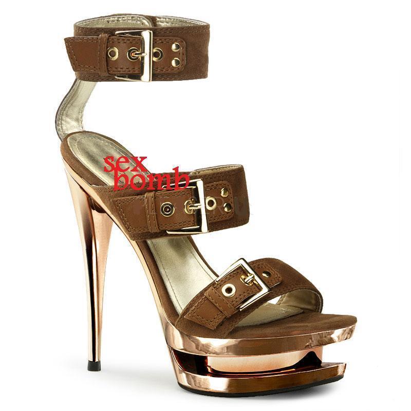 SEXY sandali PLATEAU cromato pelle pelle pelle tacco 15 numero 38 Fashion GLAMOUR 21fbfe