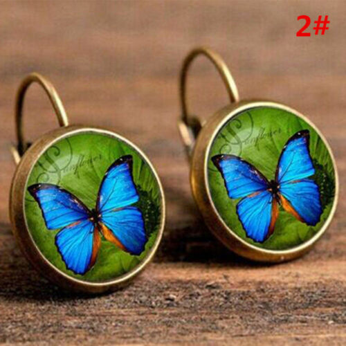 2 pcs//1pair Vintage Hot Owl Silver Glass Cabochon 18 MM Lever Back Earrings