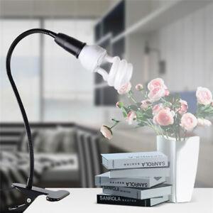 Flexible-Gooseneck-Clip-On-Cable-Desk-Lamp-Holder-Plant-Light-Base-E27-Bulb