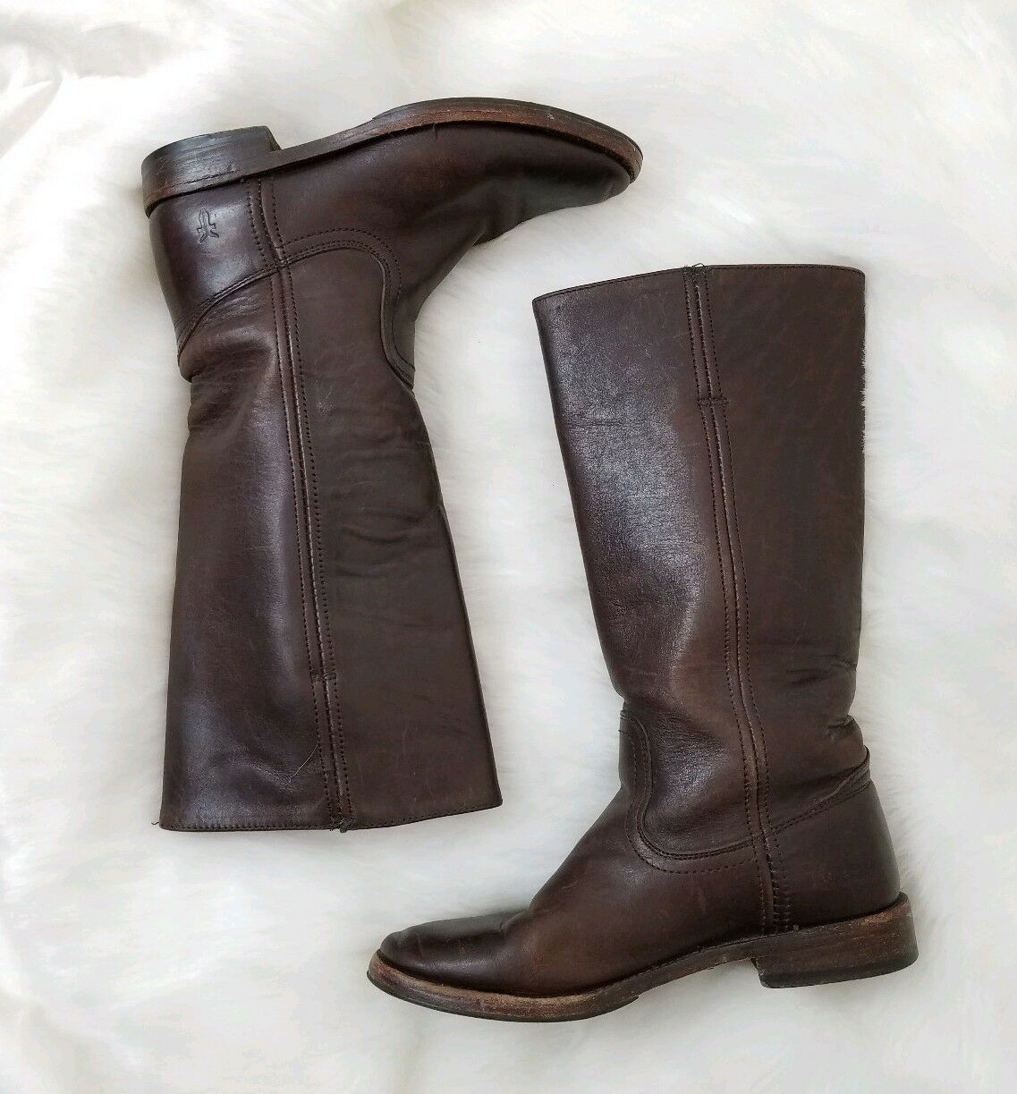 Frye Company Brown Leather Pull-on Riding Boots Flat Heel Womens Size 6 B