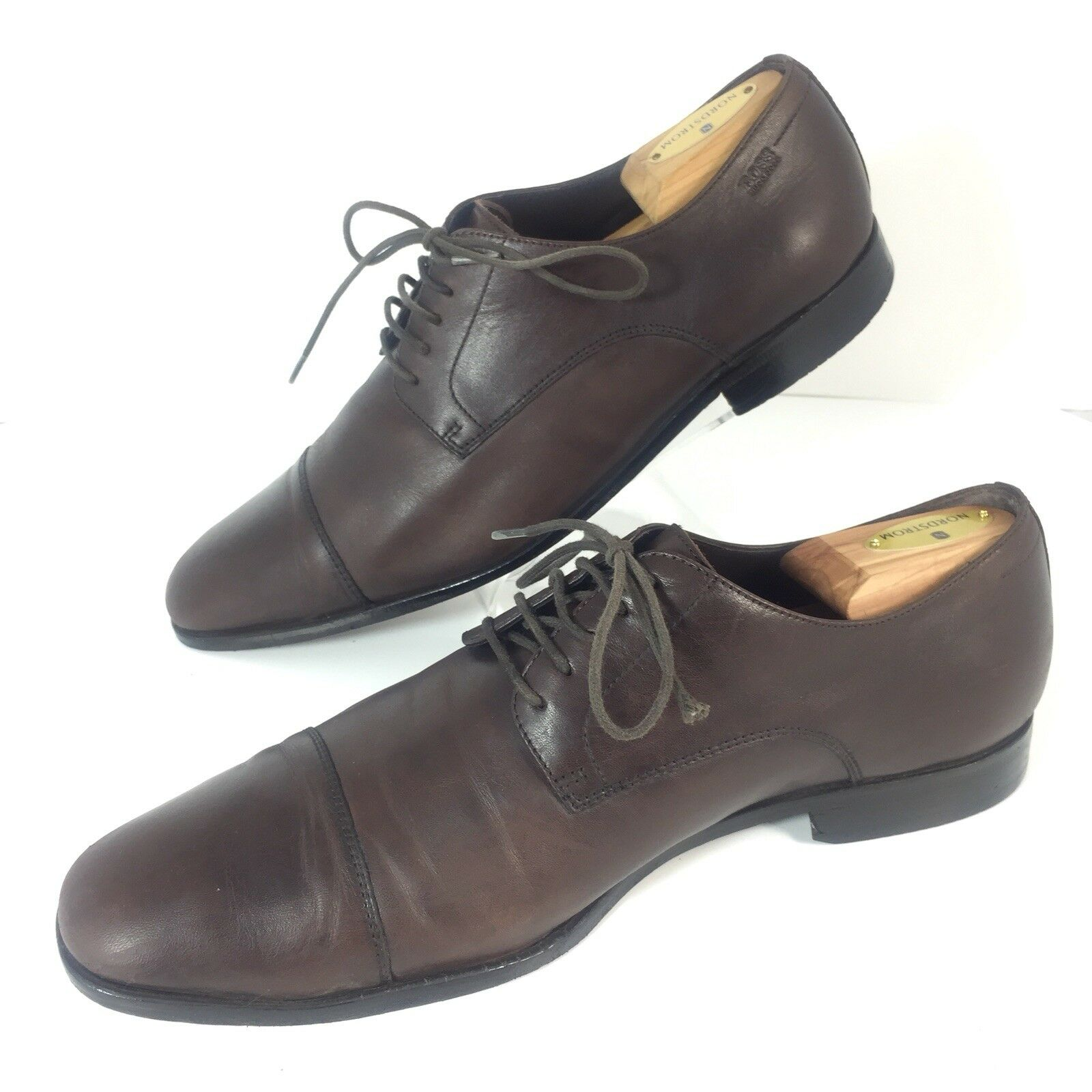 Hugo Boss Cap Toe Oxford Shoes Uomo 9 EU 42 Lace Up Brown Dress Shoes Pelle