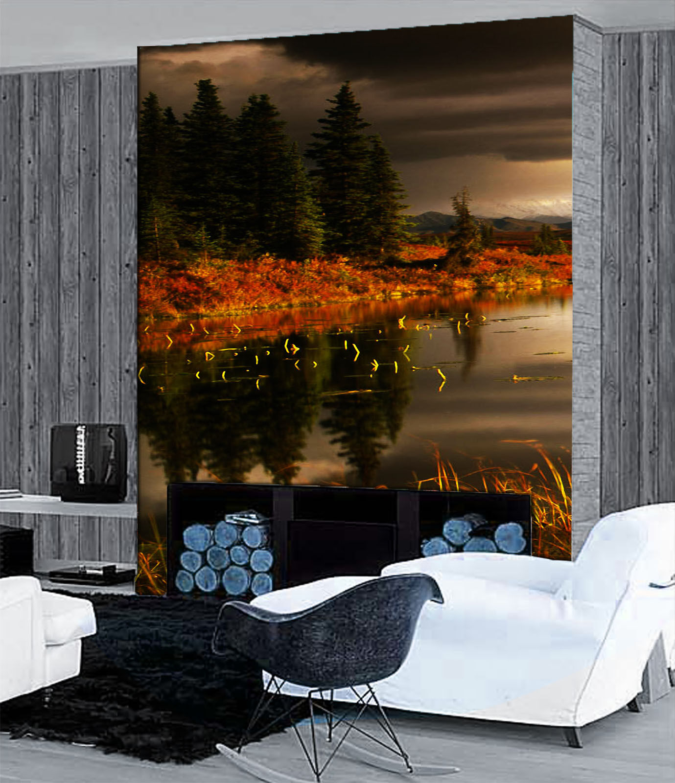 3D Grün Pine Lake Paper Wall Print Wall Decal Wall Deco Indoor Murals