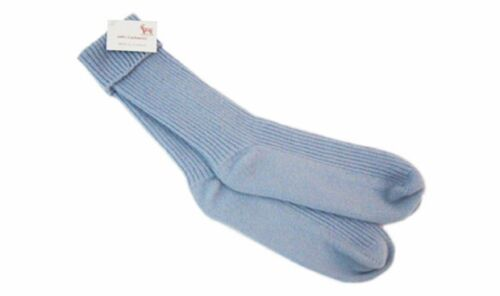 100% Cashmere Exclusive Rib Bed Socks Made In Scotland Selkirk Light Blue