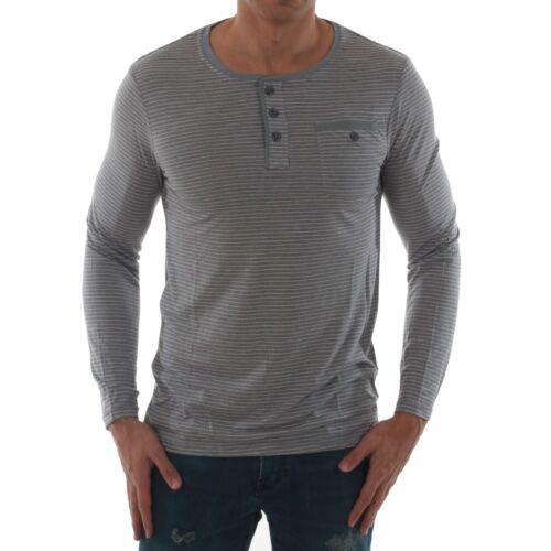 Glo Story Man Hombre Camiseta rayas Gris larga Cuello redondo 11265