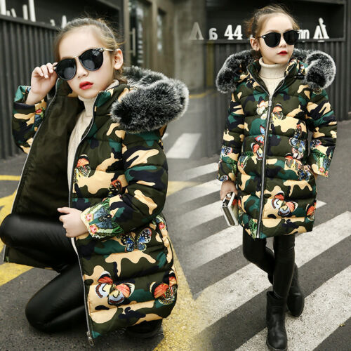 Fashion Kids Girl Padded Cotton Down Jacket Hooded Quilted Coat Thick Long Parka