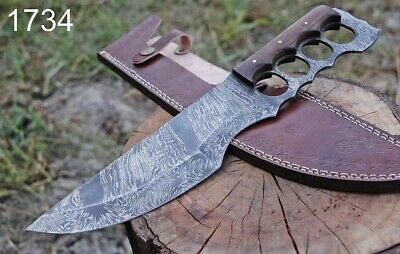 Custom Hand Forged Damascus Steel Hunting Tracker Knife Fultang Limited Edition Ebay