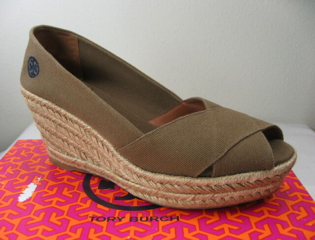 497ad92fc6b Tory Burch Filipa Criss Cross Espadrille Platform Wedge Size 10 Olive Shoes