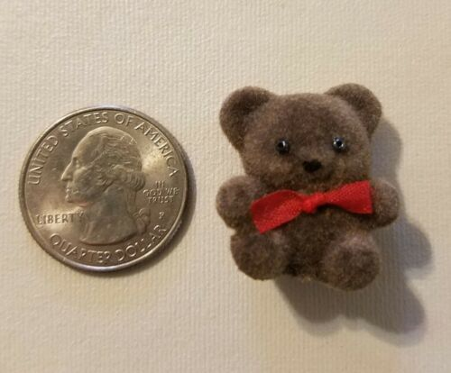 """Lot of 12 Darice Craft Brown Miniature 1/"""" Flocked Teddy Bears with Red Bow Tie"""