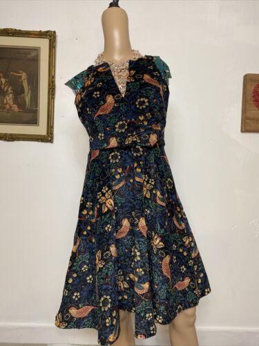 Anthropologie Eva Franco Larksong Bird Dress 8 Cor