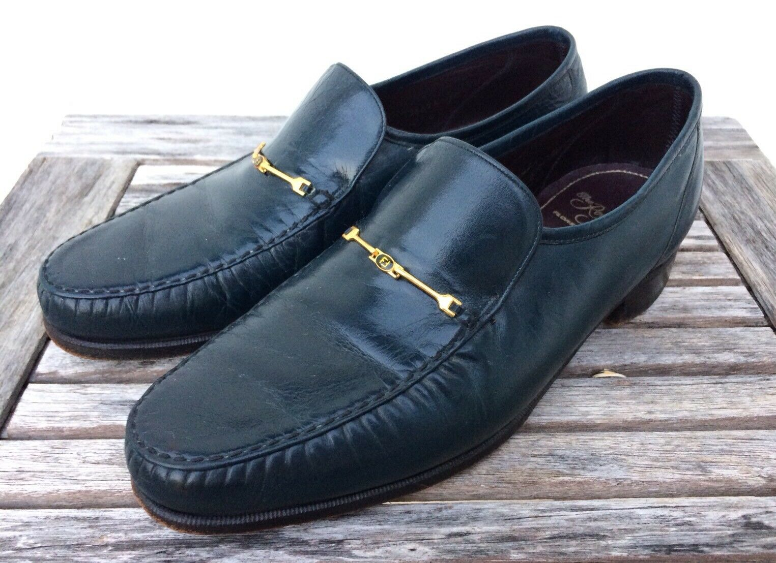 FLORSHEIM Royal Imperial Gold Bit Slip On VTG Loafers Blue Uomo's Shoe Taglia 7.5 E