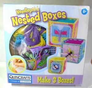 Quincrafts Needlepoint Nested Boxes Child Craft NIB cbk-023-12091