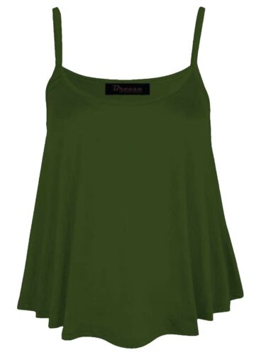 Womens Khaki Olive Swing Vest Sleeveless CAMI Top Strappy Flared plus size