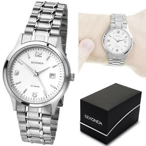 Sekonda-Gents-Mens-Bracelet-Watch-Stainless-Steel-amp-White-Dial-with-Date-Display
