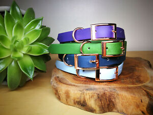 Petrol-Biothane-Rose-Gold-Waterproof-Dog-Collar-ALL-sizes-adjustable-Handmade