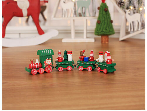 Christmas Wooden Train Decoration Santa Snowman Xmas Ornaments Home Decor Gift