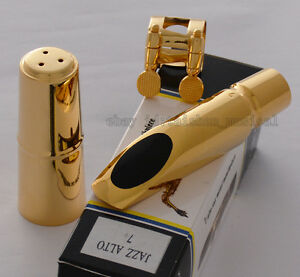 TOP QUALTIY Gold Plated Jazz Alto Saxophone Metal Mouthpiece For Eb Sax Size 7