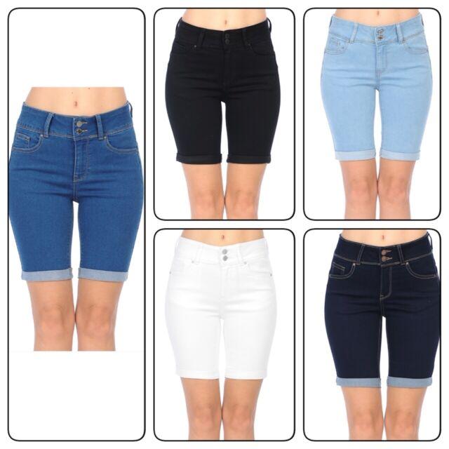 Wax Womens Juniors Stetchy Mid Rise Denim Shorts