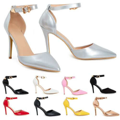 Womens Unisex Buckle Ankle Strap Stiletto Heel Court Shoes 9 10 11 12