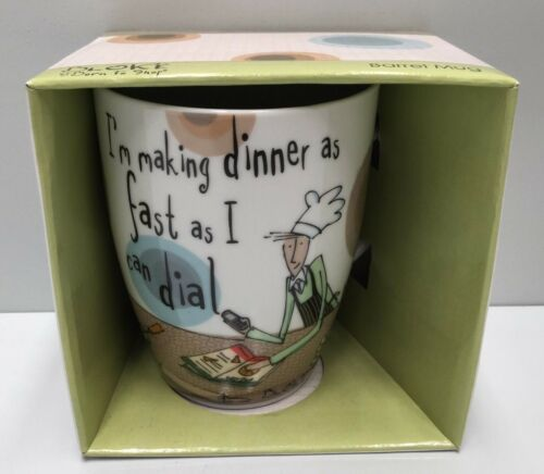 "BORN TO SHOP "" I'M MAKING DINNER AS FAST AS I CAN DIAL "" COFFEE MUG CUP"