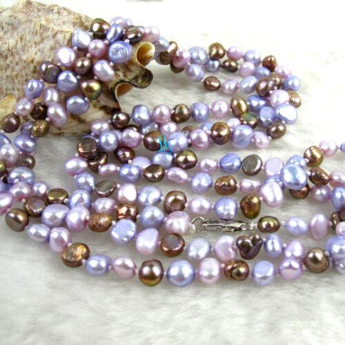 """52/"""" 5-6 mm Rose Gris-Bleu Violet Baroque Eau Douce Collier De Perles B"""