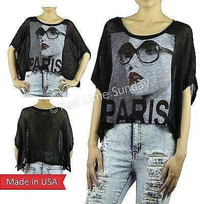 Paris Fashion Girl Lips Print Oversized Black Knit Mesh Tops Poncho T Shirt USA