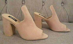 NEW-DKNY-HESTER-PINK-SUEDE-PEEP-TOE-MULES-SIZE-UK-4