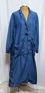 H-amp-M-Denim-Blue-Chambray-Long-Duster-Trench-Coat-Jacket-Robe-Pockets-Sz-Large
