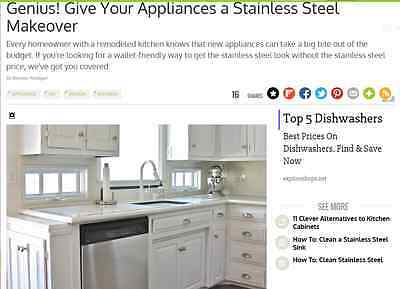 "Instant Dishwasher Appliance satin stainless steel Film Panel Ezfauxdecor 26/""x3/'"