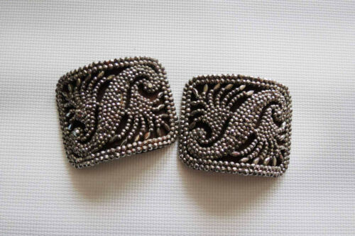 Antique Steel Riveted Small Buckle Pair
