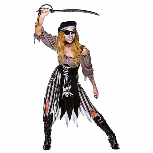 Donna Zombie TAGLIAGOLE Pirata Halloween Horror Costume Taglia UK 6-24