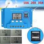 10/20/30A PWM LCD Solar Panel Charge Controller 12V/24V Battery Auto Regulator