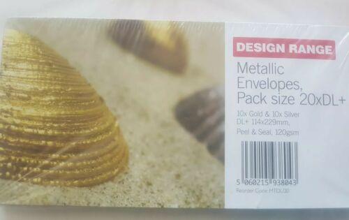 Design Range Metallic Envelopes DL+10xGold 10xSilver 114x229mm Peel /& Seal 120gs