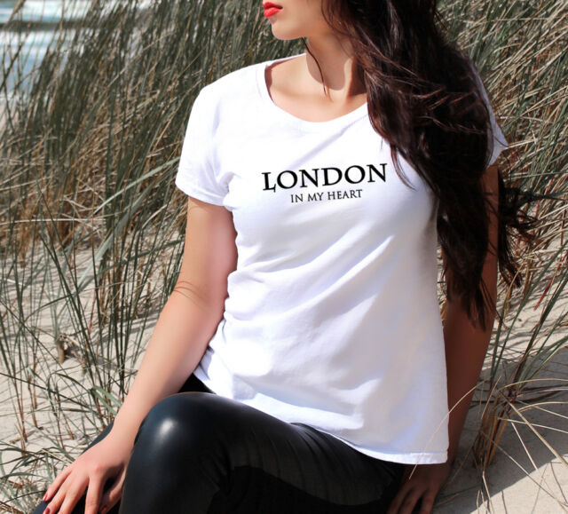 LONDON IN MY HEART WOMEN'S T-SHIRT Top TEE VOGUE DOPE CELINE FRANCE SPAIN FAB